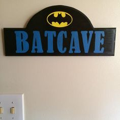 "Handmade Wooden Batcave Sign with Batman Logo - 7"" x 15.5"" by TheSamAntics on Etsy"