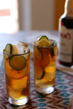 Joy The Baker - Pimm's Cup Recipe 8 thin slices English cucumber 4 thin slices lemon 4 ounces Pimm's No. 1 8 ounces ginger ale