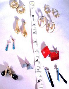 Vintage Lot Dangle Hoop Drop Retro 9 pair Set 1980's Pierced Earrings Jewelry #Unbranded #DropDangle