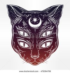 Black cat head portrait with moon and four eyes. Four eyed cat is an ideal Halloween, tattoo art, wierd, spirituality, psychedelic art for print, posters, t-shirts and textiles. Vector illustration.