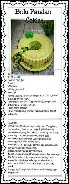 Bolu Pandan Coklat Unique Recipes, Sweet Recipes, Cake Recipes, Chocolate Bunt Cake, Bolu Cake, Sambal Recipe, Pandan Cake, Indonesian Desserts, Resep Cake