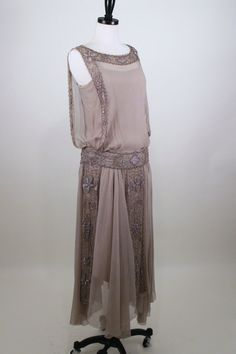 1920's Silk Beaded and Embroidered Flapper Dress // Great Gatsby
