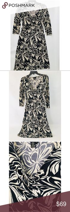 """BCBG Max Azria Day Work Career Dress 3/4 Sleeve Sm The PERFECT dress to throw on when the alarm doesn't go off. Flattering and easy! Fabric has great give. Waist 13"""", Sleeve 19"""", Length from tag to hem is 38"""". BCBGMaxAzria Dresses Midi"""