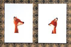 Digital printing – 2 x fine art print : fox double – a unique product by swig-filz-felt-feutre on DaWanda