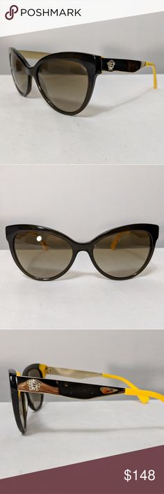 d03c6fcab533b Auth Versace Brown Yellow   Gold Sunglasses EUC This is an authentic pair  of Versace shades