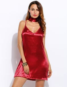 Red V-Neck Sleeveless Cross Back Solid A-Line Casual Dress