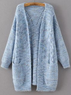 Shop Blue Marled Knit Long Sweater Coat With Pocket online. SheIn offers Blue Marled Knit Long Sweater Coat With Pocket & more to fit your fashionable needs. Long Sweater Coat, Long Knit Cardigan, Long Sweaters, Sweater Cardigan, Knitting Sweaters, Cashmere Cardigan, Knitted Coat, Coat Patterns, Knitting Patterns