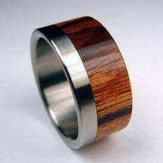 Titanium and wood men's wedding band.