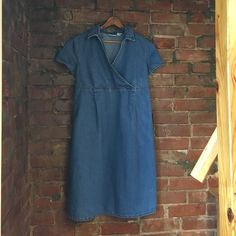 "Denim faux wrap maternity dress Denim maternity dress. Size medium. Empire waste . Faux wrap top , tie at back. Neck to hem is approx 36"" Baby & me Dresses"