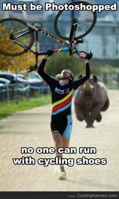 No one runs with cycling shoes :) #2wheelsEP www.facebook.com/crazycatcyclery
