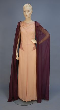 Beaded chiffon evening gown with sheer cape, 1930's