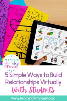 5 simple and free ways to build relationships virtually with students - Teaching with Haley. From fun photo-sharing ideas to tips on flexibility to make remote learning that little bit easier. Learn more about the different tips and tricks you can implement today to help build a community through distance learning. These relationship-building ideas can be implemented from kindergarten through to 6th-grade students. And can be implemented at home or in the classroom.