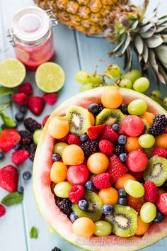 This Melon Ball Berry Salad with Lime Raspberry Dressing is the perfect summer treat. The dressing is fruity, sweet and a little bit tangy!