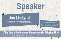 """#BigData - We are Delighted to announce and welcome our #Speaker """"Jon Lindqvist"""" joins the panel at RecunnectLtd's 2nd Big Data and Performance Management in Shipping 2016. Standard Registration now live £950+VAT (3 for the price of 2 - Book 2 delegates and get the third pass complementary) Book at http://www.recunnect.com/events/maritime-events/2nd-big-data-in-shipping-2016/registration/ now to save £50 with voucher code SAR001."""