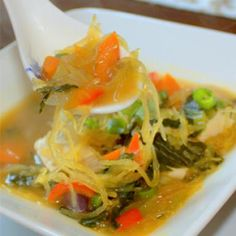 Asian-Inspired Fall Spaghetti Squash Noodle Soup - Healthy Soups to Keep You Slim and Satisfied - Shape Magazine