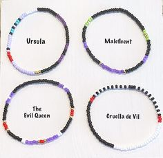 The Disney Villains Individual Beaded Bracelet Set Stretch | Etsy Stack Bracelets, Stackable Bracelets, Stretch Bracelets, Beaded Bracelets, Disney Villains, Bracelet Set, Maleficent, Etsy, Unique Jewelry