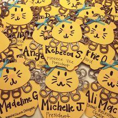 Philanthropy Round nametags using pop tabs for Alphie's mane. Great conversation starter!