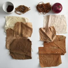 Dye samples from a natural dye workshop. On the left: Coffee beans on wool yarn…