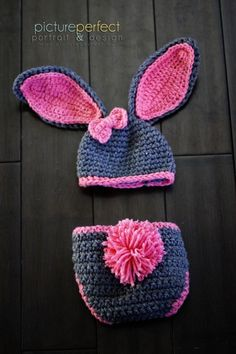Baby Girl Bunny Hat Must See Too Cute Newborn Baby Boy Or Girl Crochet Bunny Hat/Diaper Cover Set Gi on Luulla by letha