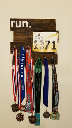 Rustic Running Medal and Bib Holder Display by TheWoodWiddler on Etsy