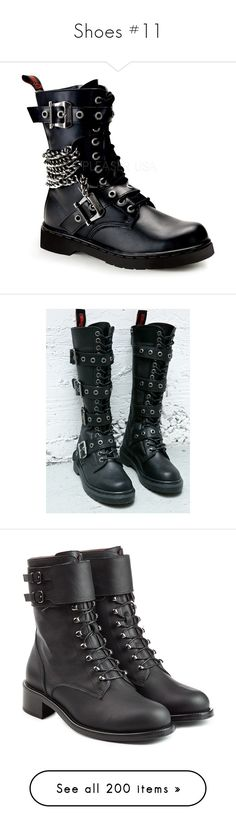 """""""Shoes #11"""" by evil-bookworm ❤ liked on Polyvore featuring shoes, boots, wide fit boots, demonia boots, unisex boots, vegan boots, unisex shoes, vegan leather boots, tall knee high boots and tall combat boots"""