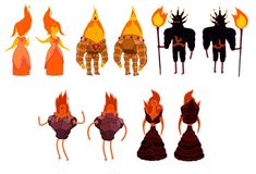 Fire people concept from the anime/cartoon adventure time , both back and front