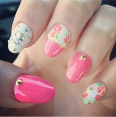 Bedazzled pink floral manicure