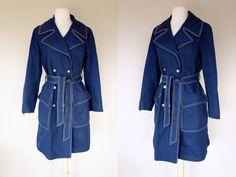 1960s blue pea coat London Fog rain coat by DottieMaeVintage