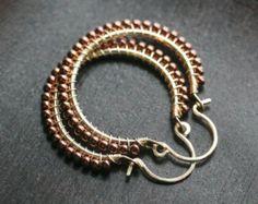 Aquablau Samen Perle Ohrringe Draht gewickelt Tropfen Reifen
