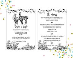 Pattern and Illustration by PinkPeaDesign Wedding Show, Wedding Rsvp, Wedding Invitations, Band Stickers, Sparkler Send Off, Order Of Service, Table Names, Bridesmaid Cards, Llamas