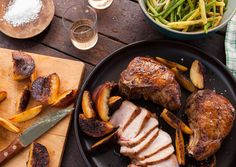 Grilled Pork Chops and Peaches with Pole Beans from @Bon Appetit Magazine #grilling #recipe #oliveoil