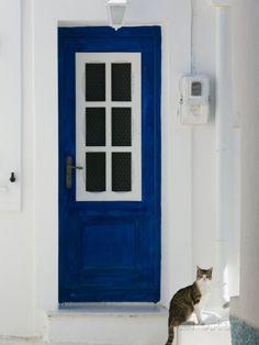 Village Door with Cat, Kokkari, Samos, Aegean Islands, Greece Lámina fotográfica por Walter Bibikow en AllPosters.es