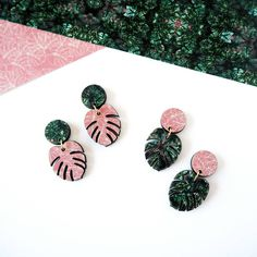 Mica Peet Monstera Drop Earrings ($23) ❤ liked on Polyvore featuring jewelry, earrings, leaves jewelry, dangle earrings, leaf jewelry, long drop earrings and leaves earrings
