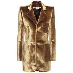Vetements Velvet Jacket ($2,520) ❤ liked on Polyvore featuring outerwear, jackets, gold, vetements, velvet jacket, brown jacket and brown velvet jacket