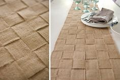 DIY Jute Table Runner or placemat instructions.  Would match the burlap curtains. Could use upholstery webbing too.
