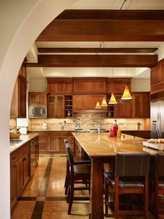 Kitchen, Authentic Craftsman Style Kitchen Cabinets: Modern Kitchen With Craftsman Style And Marbe Dining Table