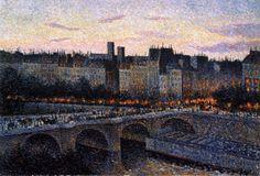 Maximilien Luce - Quai de l'Ecole, Paris, Evening (1889). Neo Impressionsim