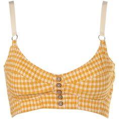 Mustard Crinkle Gingham Bralet ($20) ❤ liked on Polyvore featuring tops, underwear, shirts, lingerie, crop tops and women
