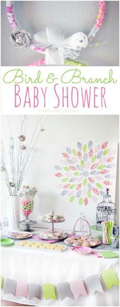 Bird and Branch Pink and Green Baby Shower for moms expecting girls KristenDuke.com