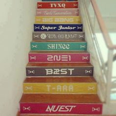 *sudden urge to paint stairs*, take away Nuest, 2NE1, Tara, Girls Generation, and TVXQ and add Cnblue, Infinite, 2pm, SS501, and B.A.P. and it would be perfect!