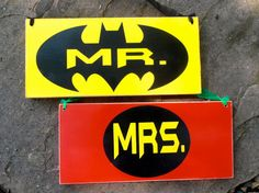Batman Robin Mr Mrs Wedding Wood Sign Chair signs by Nesedecor, $26.00