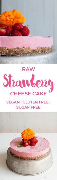 Vegan Strawberry cheese cake. Gluten free | Refined sugar free | Only 8 ingredients