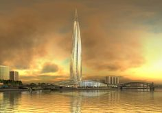 Gazprom Tower, St. Petersburg - by RMJM Architects, the 330,000m² complex will also include commercial office space as well as retail, leisure and residential developments. The 3 billion dollar project will transform a 17-hectare brownfield site at Lakhta, on the outskirts of the city, into a pioneering environmentally-friendly development that will meet the highest standards of sustainability and energy efficiency