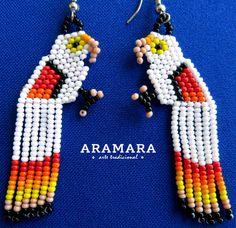 Mexican Huichol Beaded White Parrot earrings AO-0042 by Aramara