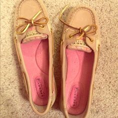 NEVER WORN!!! Sperry's size 6 Tan with pink interior and pink argyle pattern with sequins on the side - goldish ties  Sperry Top-Sider Shoes Flats & Loafers