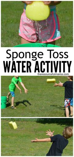 Summer activities for kids with water.This sponge toss water activity is a great way for kids or adults to cool off this summer. It's super easy and inexpensive to put together and works great for group or family activities. Summer Camp Activities, Summer Games, Summer Kids, Outdoor Water Activities, Outside Activities For Kids, Preschool Water Activities, Family Activities With Toddlers, Snow Activities, Summer Camps For Kids