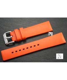 Bracelet montre HIRSCH Pure en caoutchouc naturel Orange
