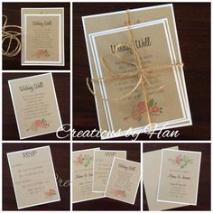 Rustic floral wedding invitation suite on Kraft card, tied together with twine