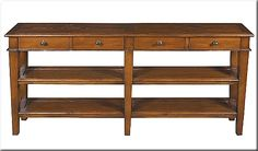"""Rare Collections M5131-735 Sofa Table 70"""" Wide x 13"""" Deep x 34"""" Tall.   Solid Alder and Tobacco Distress finish. Curtain Call Creations"""