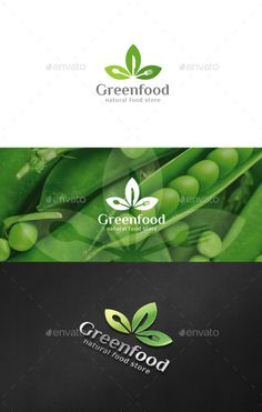 Green Food Logo — Photoshop PSD #vegetables #leaves • Available here → https://graphicriver.net/item/green-food-logo/12666400?ref=pxcr